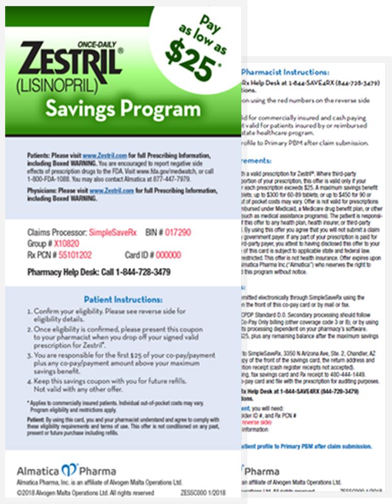 zestril manufacturer coupon