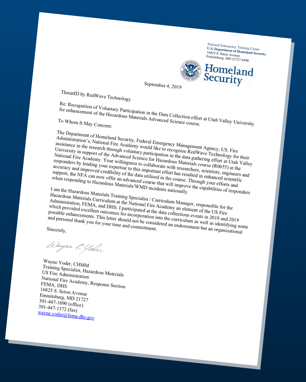 Letter from DHS (w/background)