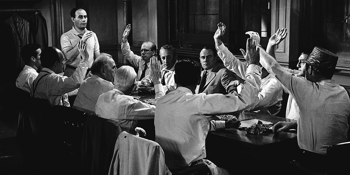 an analysis of the film 12 angry men Film analysis: '12 angry men' 1479 words | 6 pages 12 angry men (1957) focuses on a group of unnamed jurymen who must come to a unanimous decision regarding the guilt or innocence of an 18-year-old charged with murdering his father.