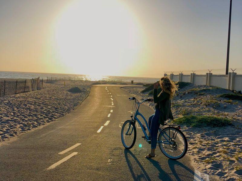 Free spirited girl on a bike