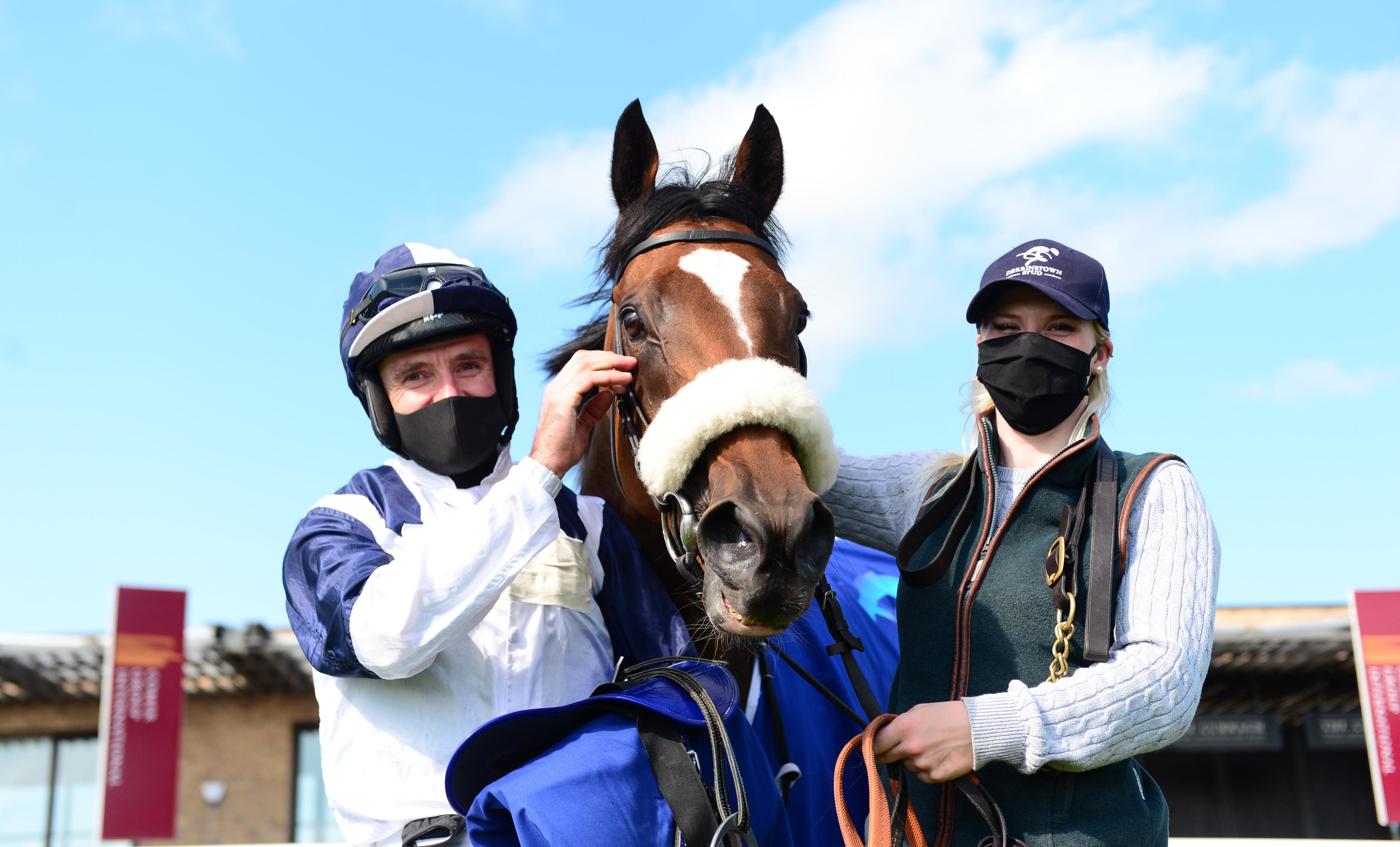 Glass Slippers and Tom Eaves after Derrinstown Flying Five glory at the Curragh (Photo: Focusonracing)