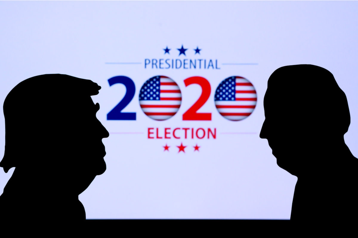 Silhouette of republican candidate Donald Trump and democratic candidate Joe Biden
