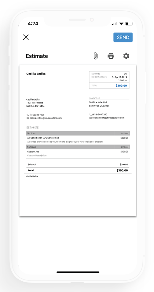 Estimating page on white iPhone