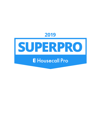 Plain 2019 Superpro badge from Housecall Pro