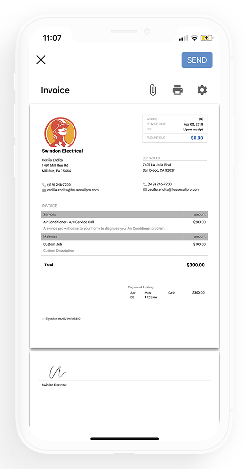 Invoicing app page iPhone
