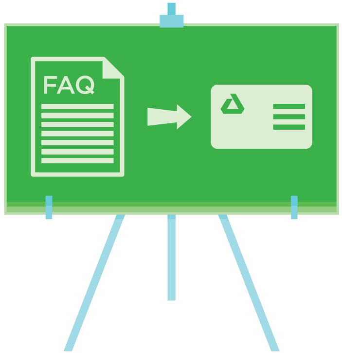 Easel with FAQ and Dental insurance card