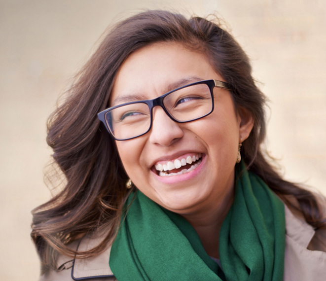 Smiling Girl with Glasses - Fall