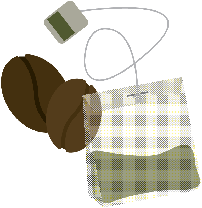 Graphic of tea bag and coffee beans
