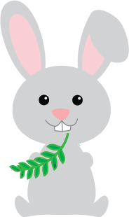 Bunny eating a leaf graphic