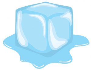 Graphic of a cube of ice melting