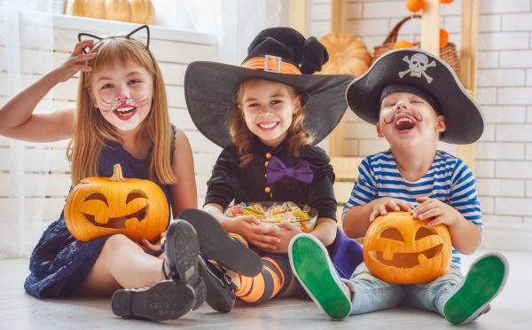 Children dressed up in their halloween costumes