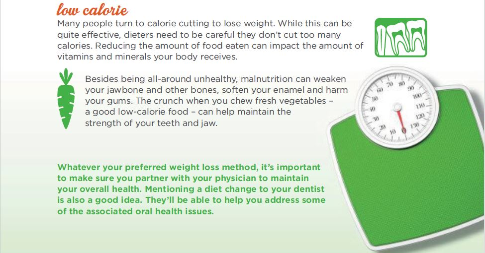 How low calorie diets help your smile