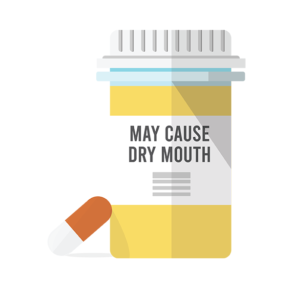 Prescription bottle with warning label that reads: May Cause Dry Mouth