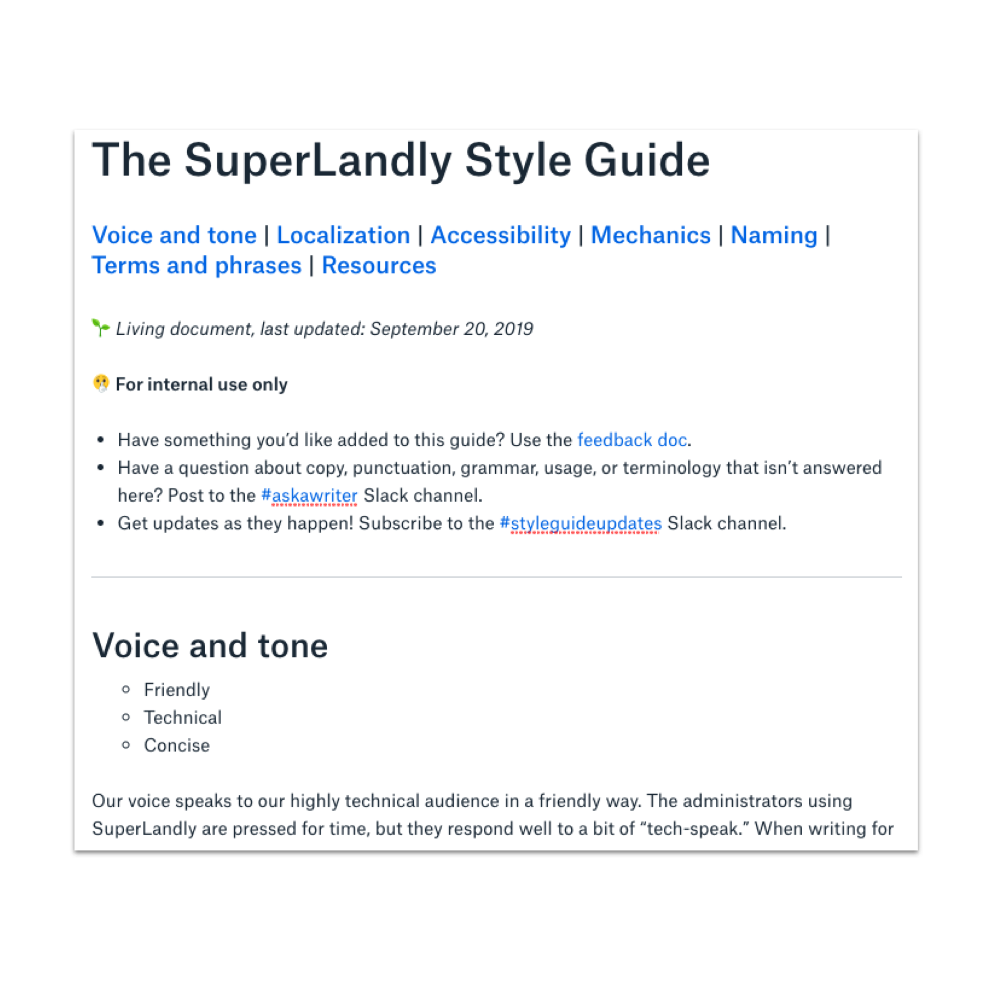 Example of a style guide home page