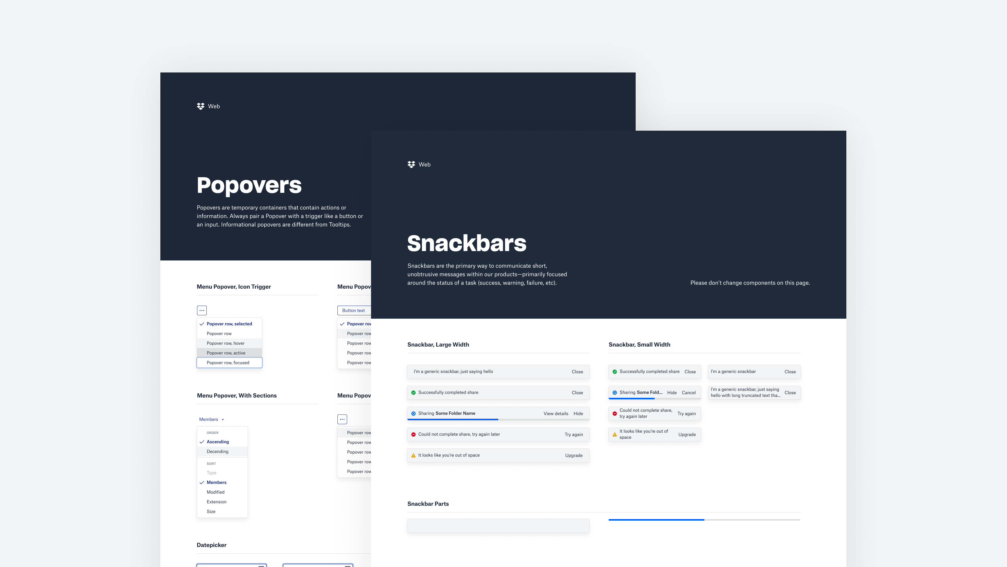 Component pages from our Web library.