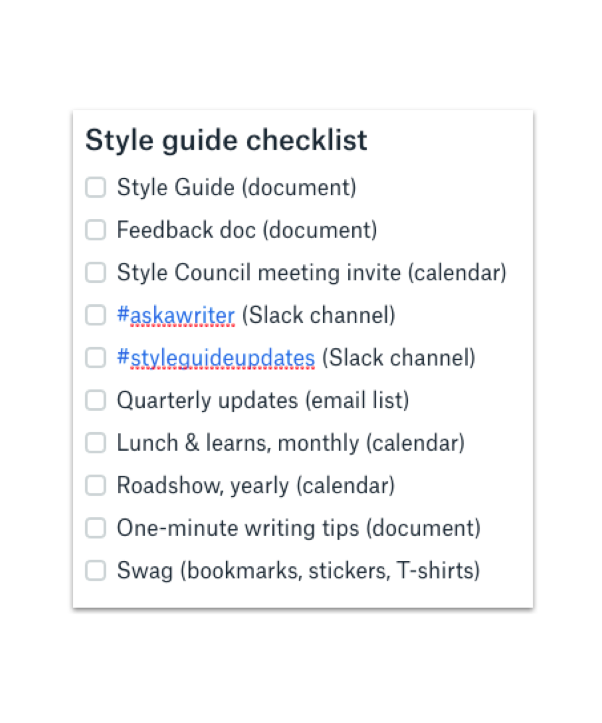 Example of a style guide governance checklist