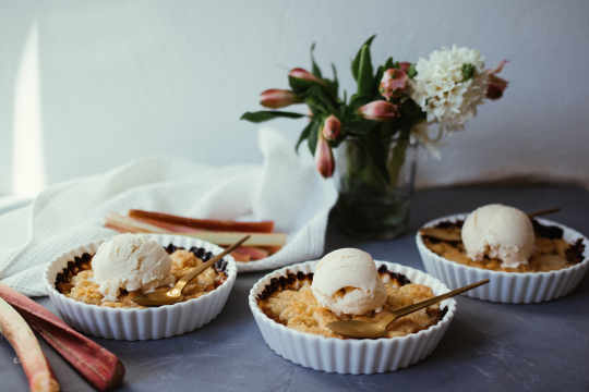 Vegan rhubarb crumble with vanilla ice cream