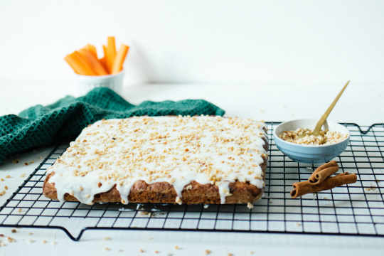 Vegan carrot cake with yogurt frosting