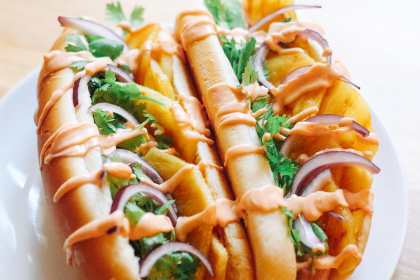 R9 Vegan Hot Dogs with grilled Pineapple
