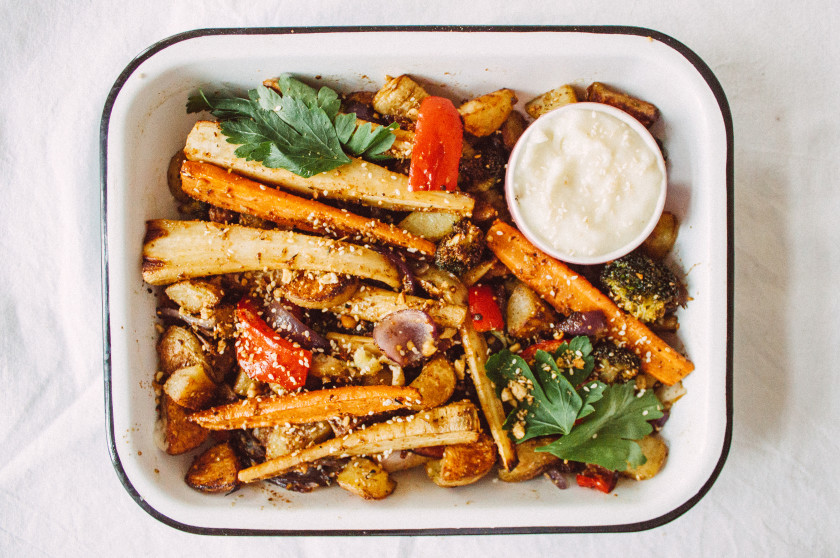 R246 Baked vegetables with dukkah and toum