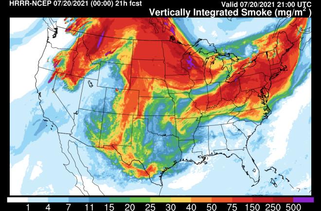 Wildfire Smoke Spreads Nearly Coast-to-Coast