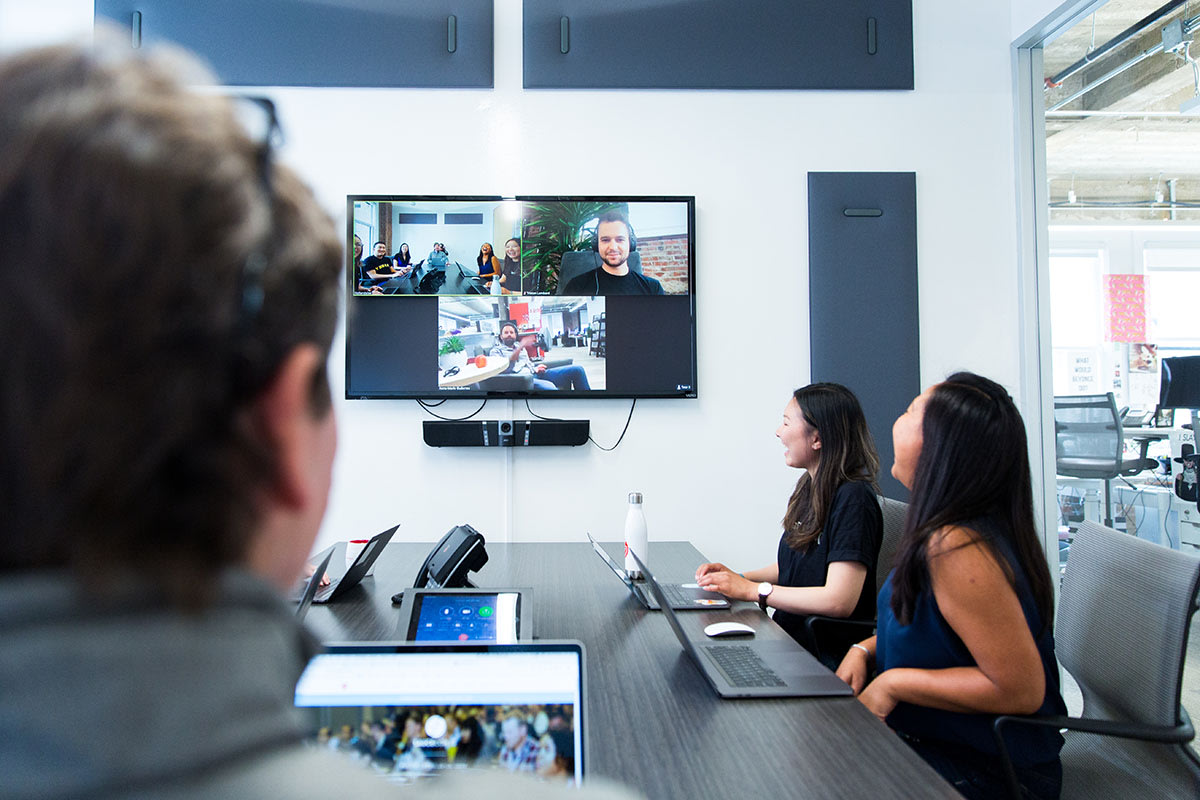 Sauce labs meeting room with a video conference