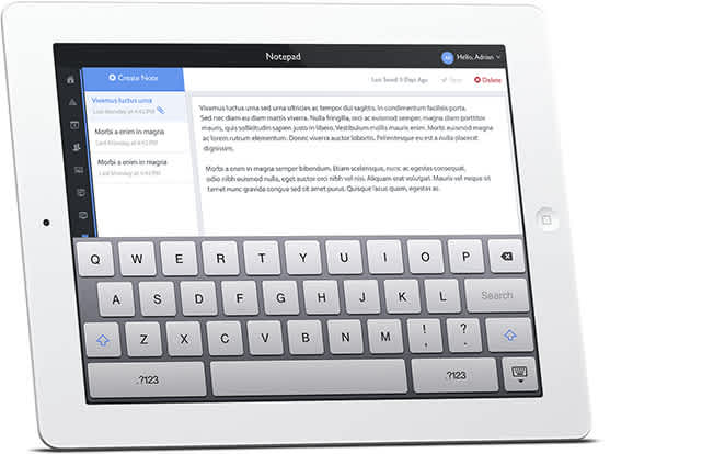 Digital notepad as shown on iPad