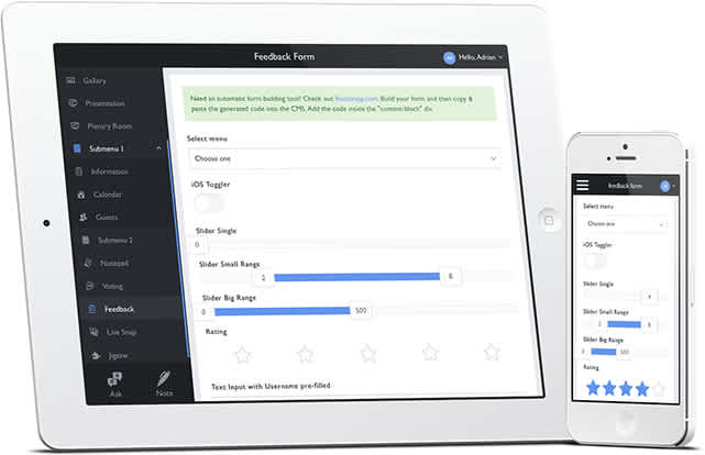 Feedback forms as shown on iPad and iPhone