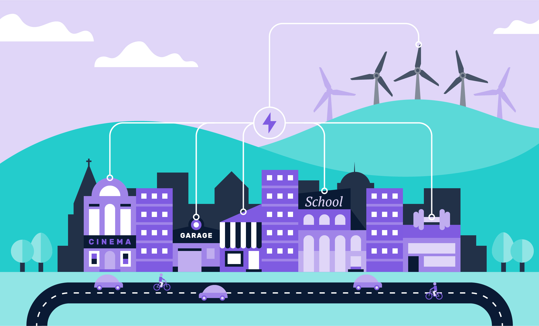 <p>High street illustration with a wind farm in the background providing power to local shops</p>