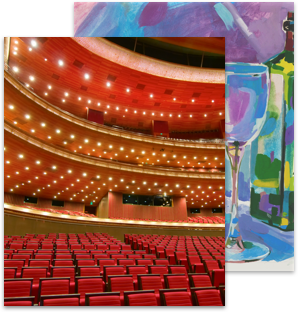 Two overlapping images of a theatre and a painting
