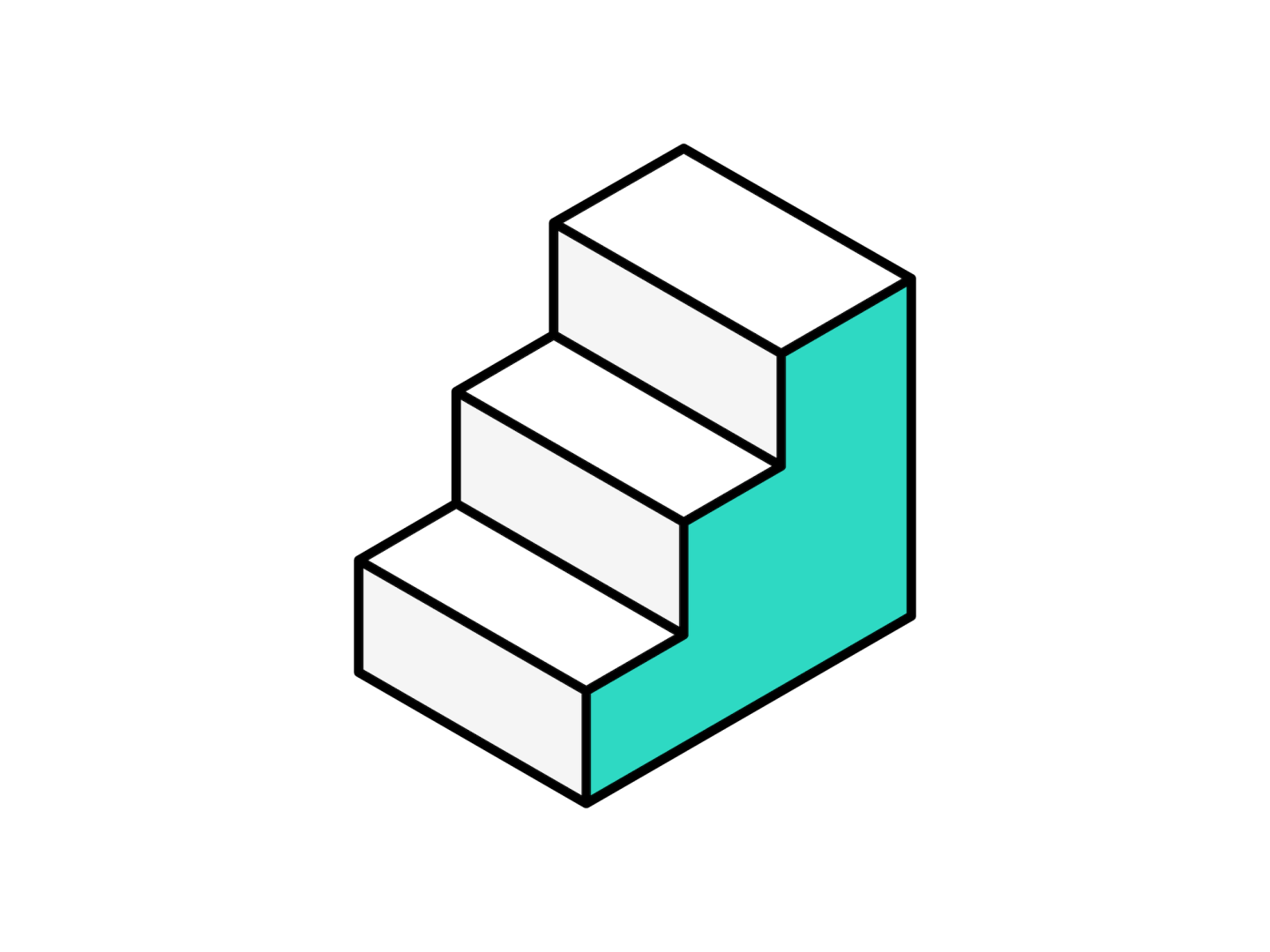 An isometric illustration of a set of stairs with 3 steps