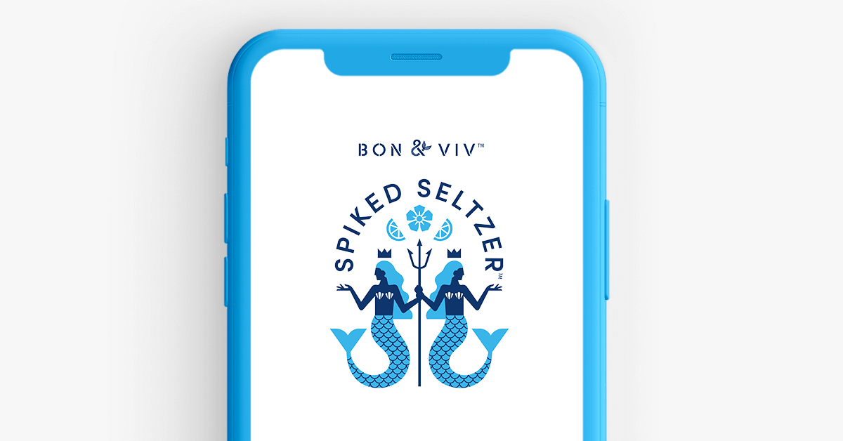 An image of the top half of a phone with the logo of Bon&Viv above a spike seltzer logo featuring two blue mermaids