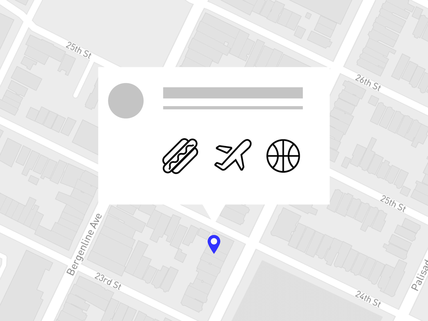 An illustration that includes a map with a location pin and an information blurb above it with a circle as well as a hotdog, airplane and basketball icon
