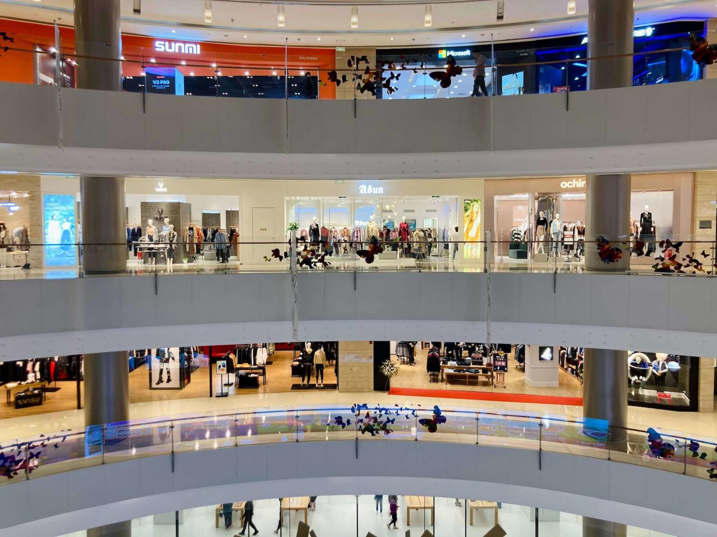 floor levels in a mall and people shopping