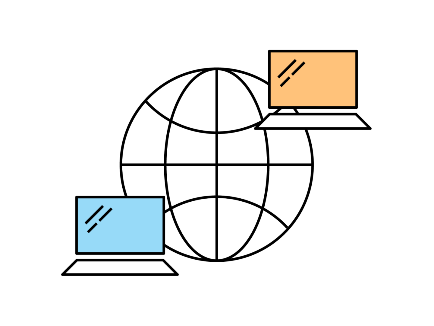 An illustration of a world icon with a computer overlapping it on the top right corner and another computer overlapping on the bottom left corner
