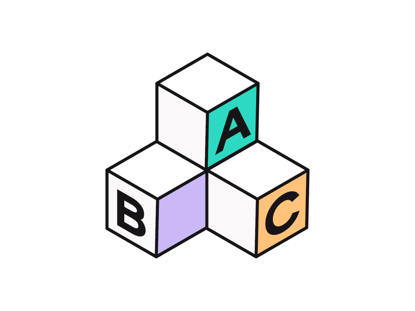Illustration of 3 alphabet blocks, B and C on the bottom with A on top