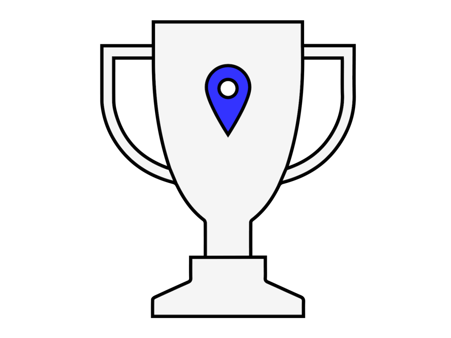 An illustration of a trophy with a location pin in the middle of it