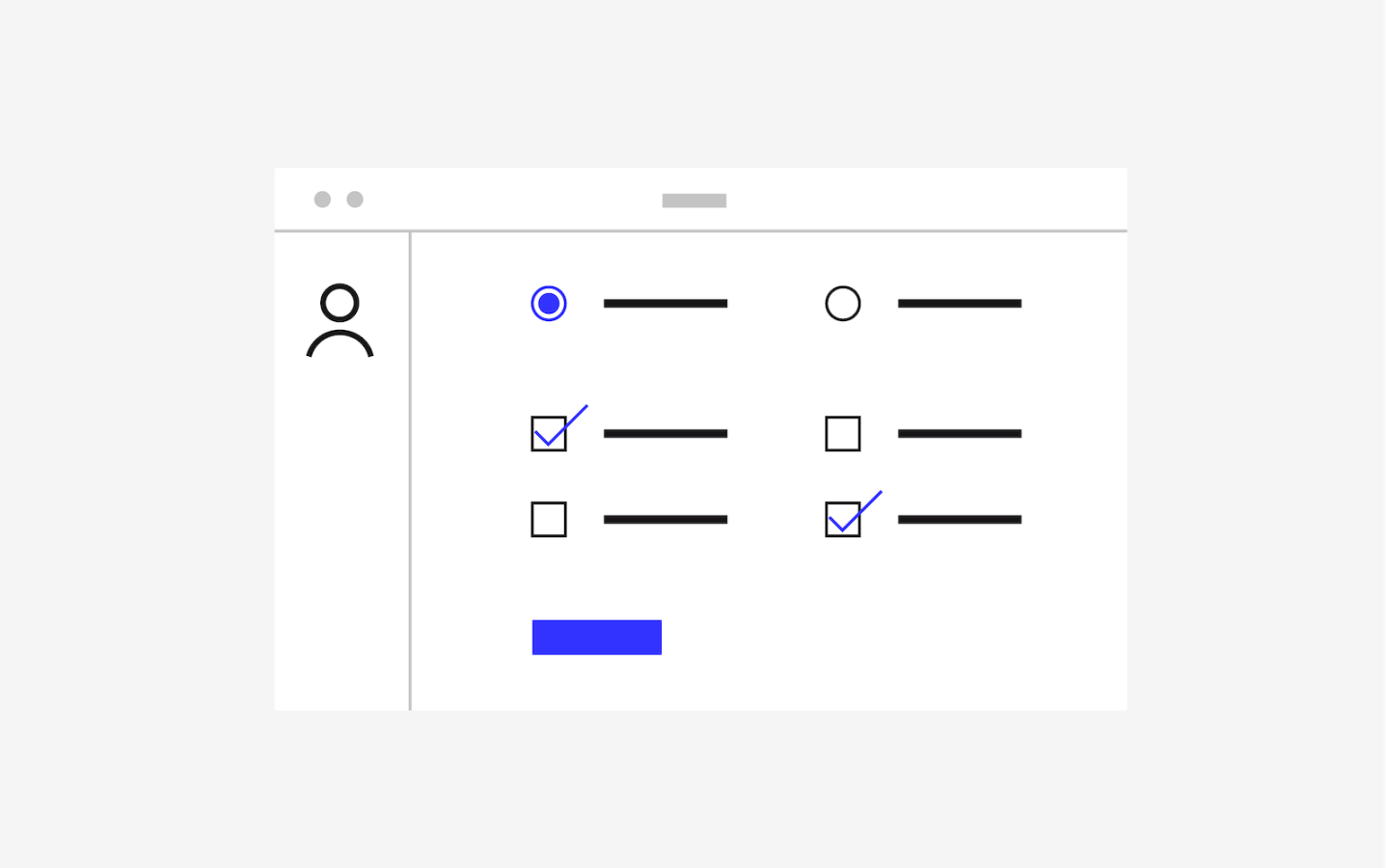 Illustration of a dashboard with a row of radio buttons and 2 rows of checkboxes