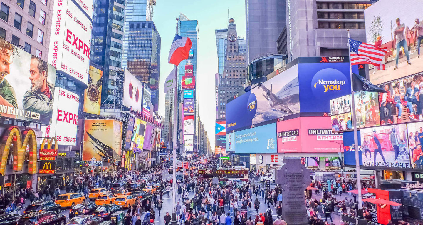 Time square in New York City with lots of advertisements
