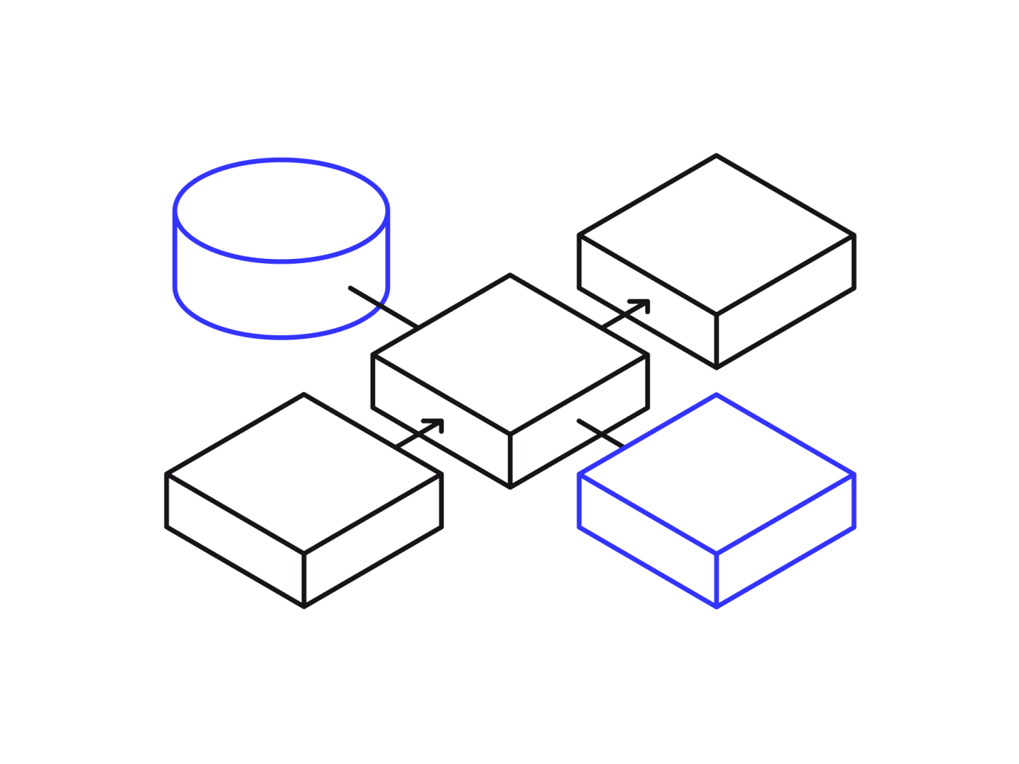 An isometric illustration of connected boxes and a cylinder