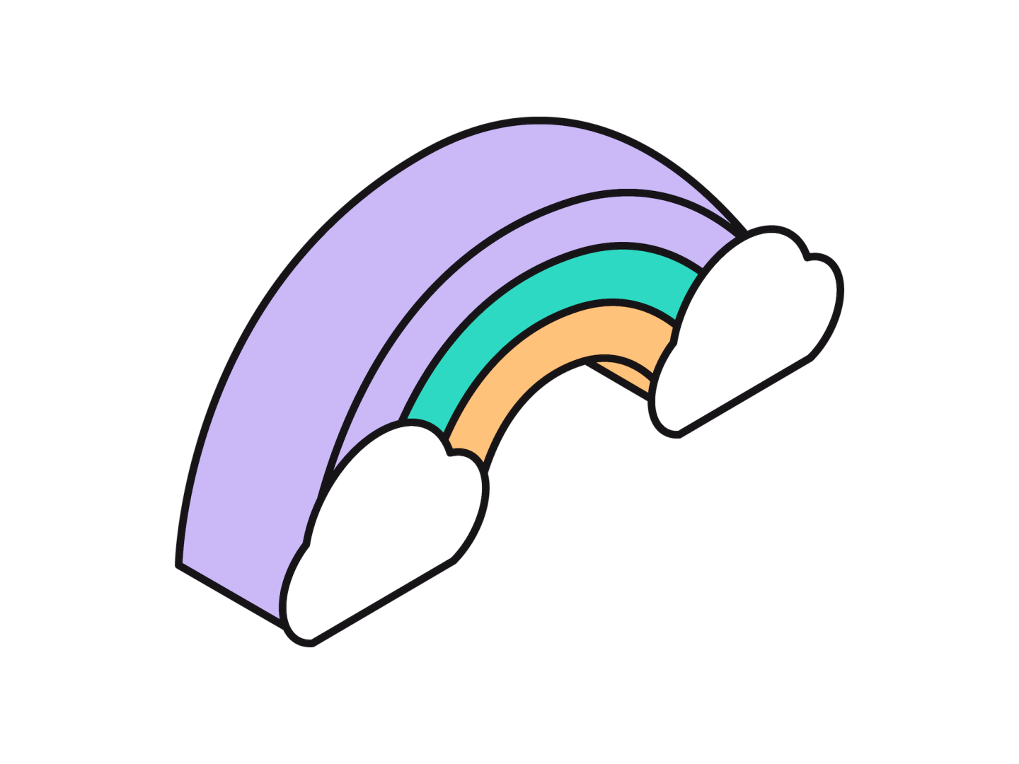 An isometric illustration of a rainbow in purple, teal and gold
