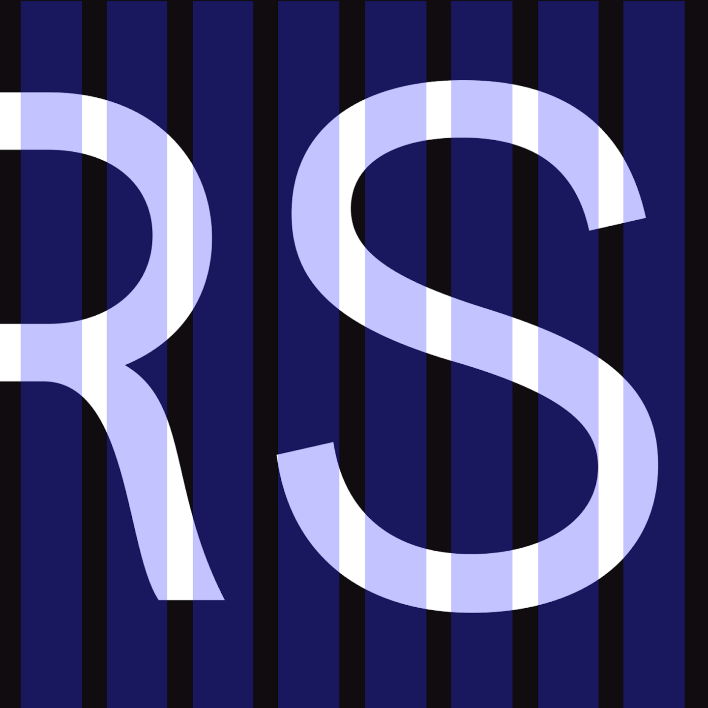 """half of an """"r"""" and a full s in white on black with light blue lines on top."""