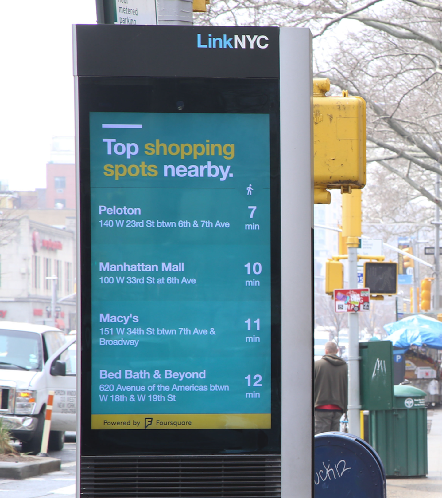 "Image of LinkNYC pillar with ""top shopping spots nearby"" highlighted"