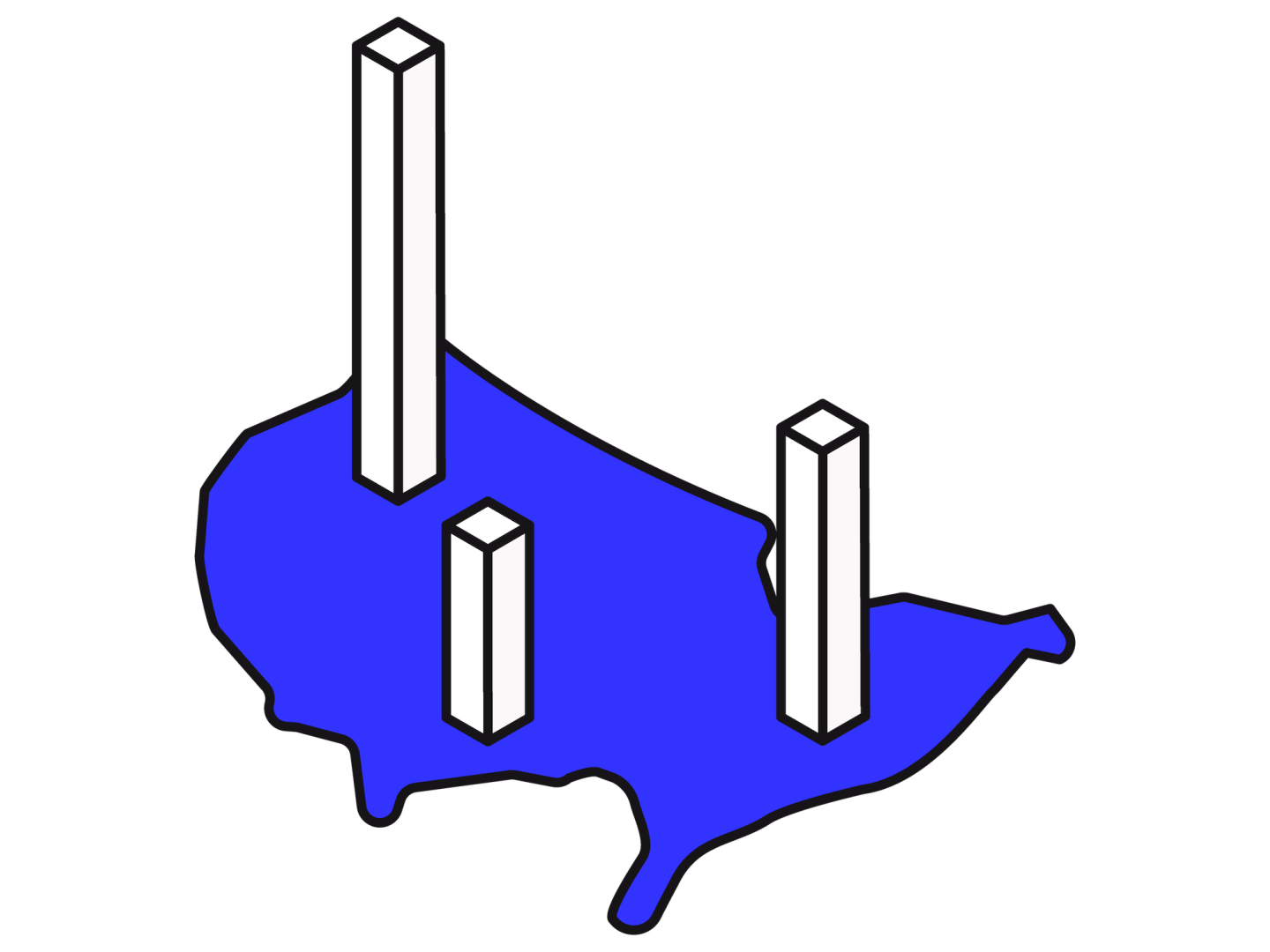 An isometric illustration of the USA map with 3 isometric vertical bars coming from it.