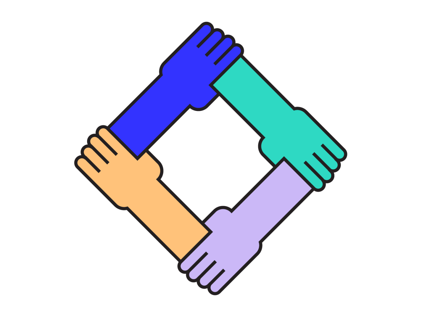 An illustration of 4 hands grabbing onto each other in different colors.