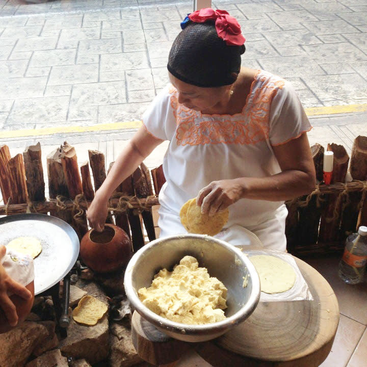 Women making traditional food in Mexico