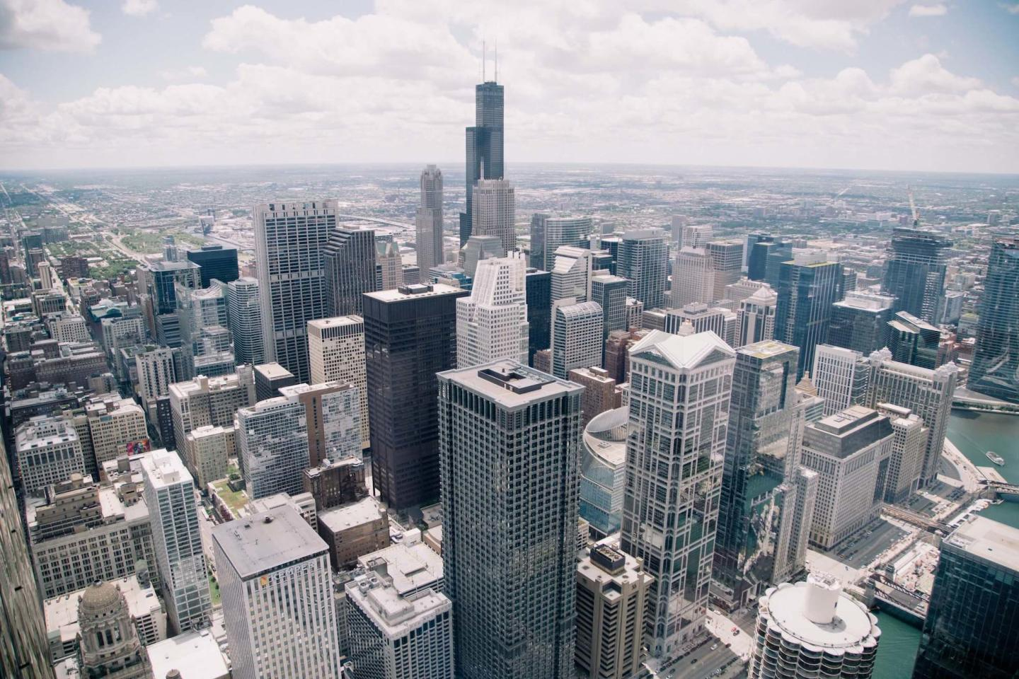 An angled aerial view of Chicago