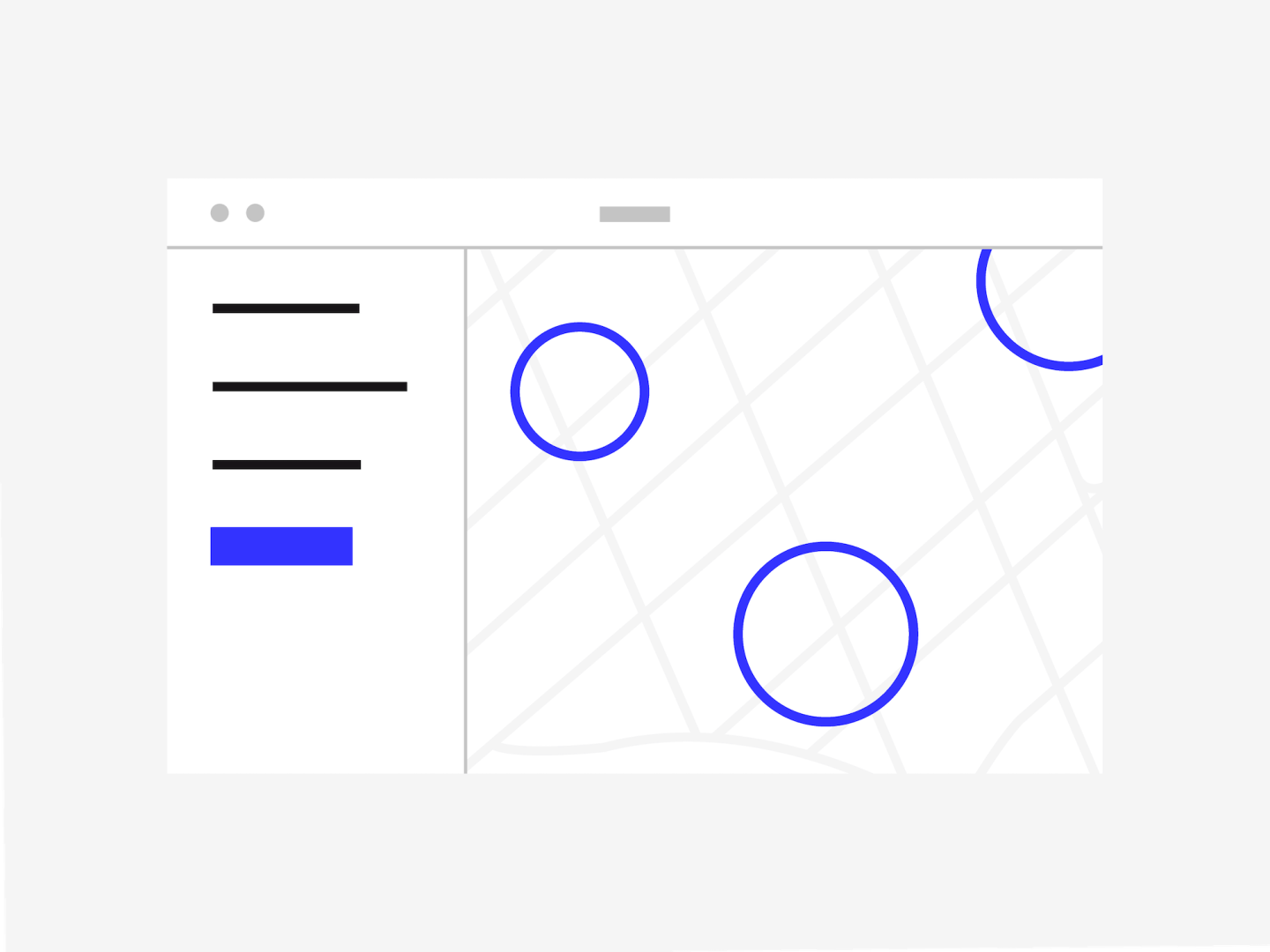 an illustration of a UI with 3 lines on the left and 3 circles on a map representing geofences.