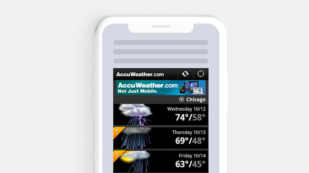 An image of the accuweather app in a phone.