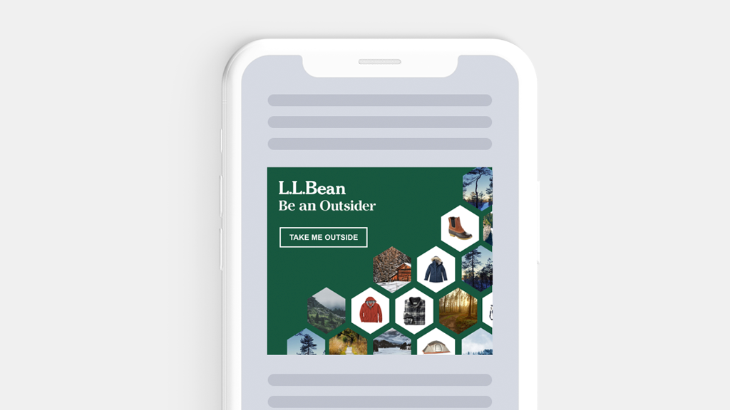 Image of an LLBean ad mockup in a phone